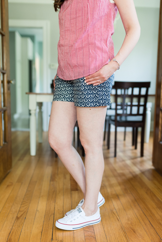 Red, White and Blue Summer Stitch Fix Review - Elsdon Crochet Trim Cotton Top from Hazel with Cindie Printed Linen Short from Level 99| 4th of July Stitch Fix | patriotic Stitch Fix | Stitch Fix clothes | Crazy Together blog