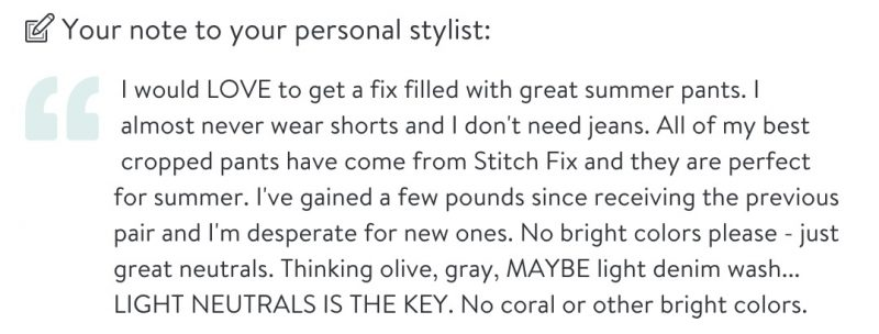 note to personal stylist | Stitch Fix clothes | Crazy Together blog