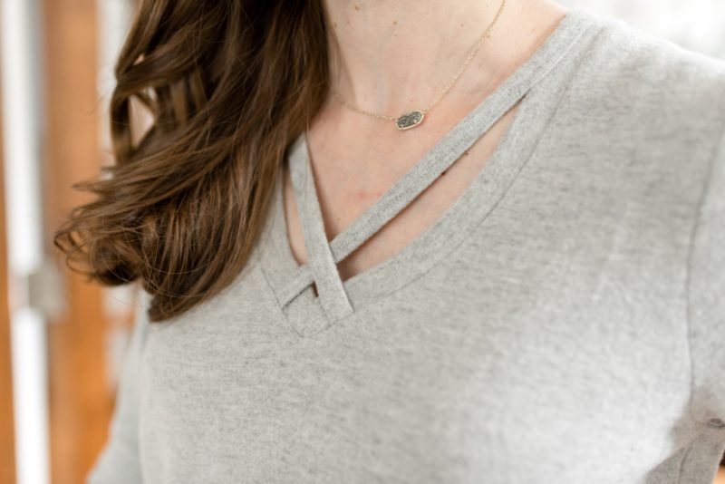 Soft Spun Knit Cross Front Top in Heather Grey from Z Supply | Wantable style edit review | Wantable vs. Stitch Fix | a side by side comparison | women's clothing subscription boxes | Crazy Together blog