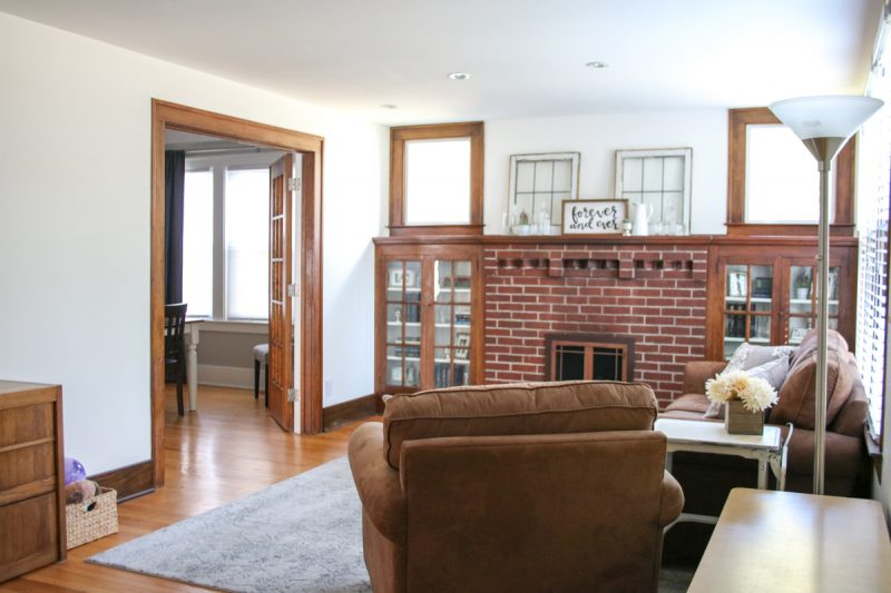 Check out this before and after of a 1925 living room update. Still a work in progress, but getting a little better every day   1920s home   1920s living room   mantle with built in book cases   craftsman home living room   Crazy Together blog