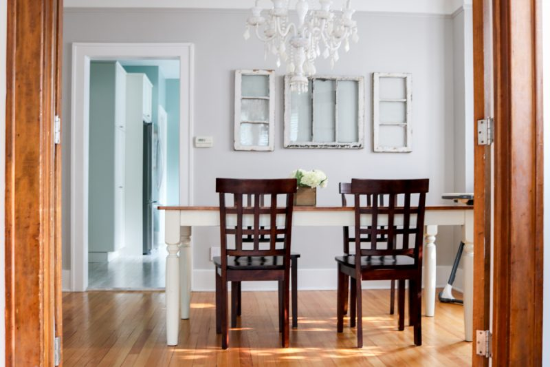 Check out this before and after of a 1925 dining room update. Still a work in progress, but getting a little better every day   1920s home   1920s dining room   white dining room chandelier   1920s plaster ceiling   craftsman home dining room   Crazy Together blog