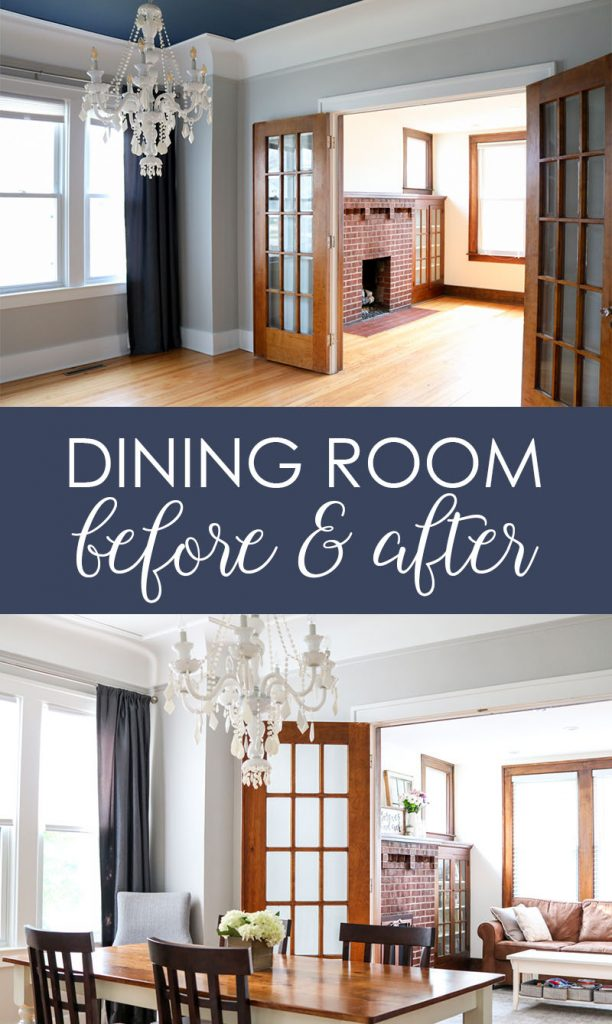 Check out this before and after of a 1925 dining room update. Still a work in progress, but getting a little better every day | 1920s home | 1920s dining room | white dining room chandelier | 1920s plaster ceiling | craftsman home dining room | Crazy Together blog