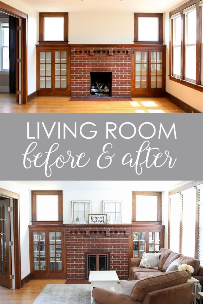 Check out this before and after of a 1925 living room update. Still a work in progress, but getting a little better every day | 1920s home | 1920s living room | mantle with built in book cases | craftsman home living room | Crazy Together blog