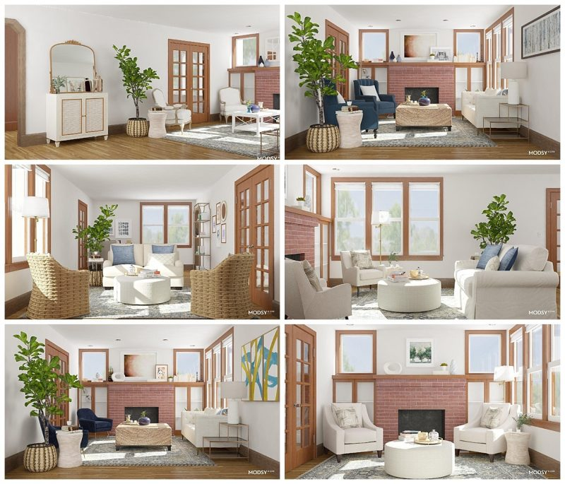 Expert-designed living room mockups for a very low cost? Yes, please! We tried Modsy for our 1925 living room update and it gave us so many new layout options to consider! | living room update | 1925 living room | craftsman home living room | Crazy Together blog
