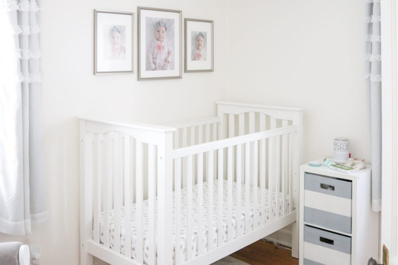 A light and airy baby nursery with a gray and white color scheme | tiny baby nursery | small baby nursery | gray and white nursery | neutral baby nursery decor | neutral palette nursery reveal | baby girl nursery | budget-friendly baby nursery | Crazy Together blog