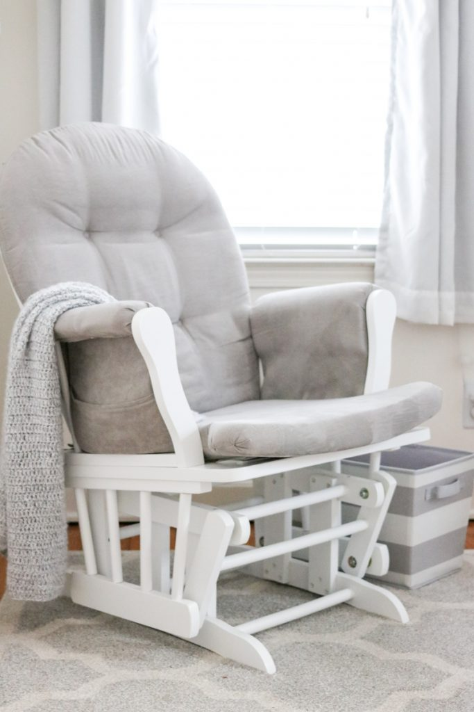 Perfect gray and white nursery rocker - glider with ottoman | neutral baby nursery decor | neutral palette nursery reveal | gender-neutral baby nursery | budget-friendly baby nursery | Crazy Together blog