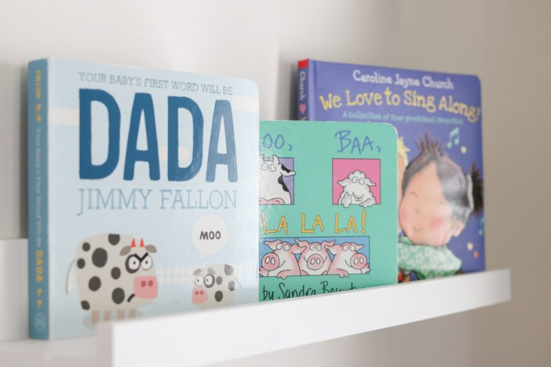 nursery book shelf | gender neutral baby nursery | floating shelves in a nursery | Crazy Together blog