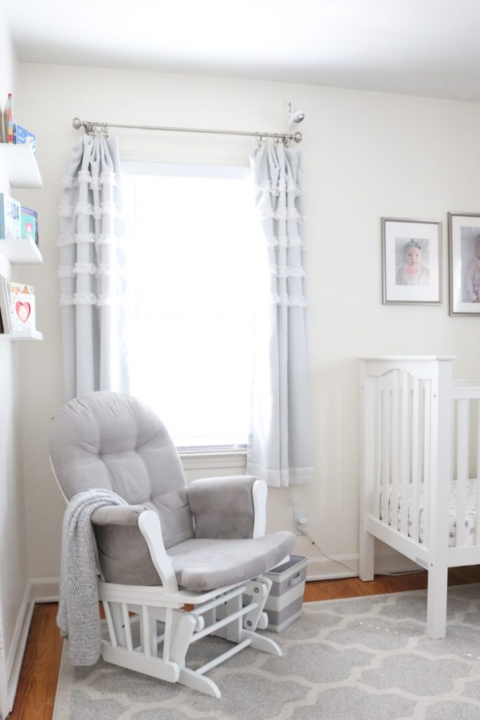 A light and airy baby nursery with a gray and white color scheme | tiny baby nursery | small baby nursery | gray and white nursery | neutral baby nursery decor | neutral palette nursery reveal | gender-neutral baby nursery | budget-friendly baby nursery | Crazy Together blog