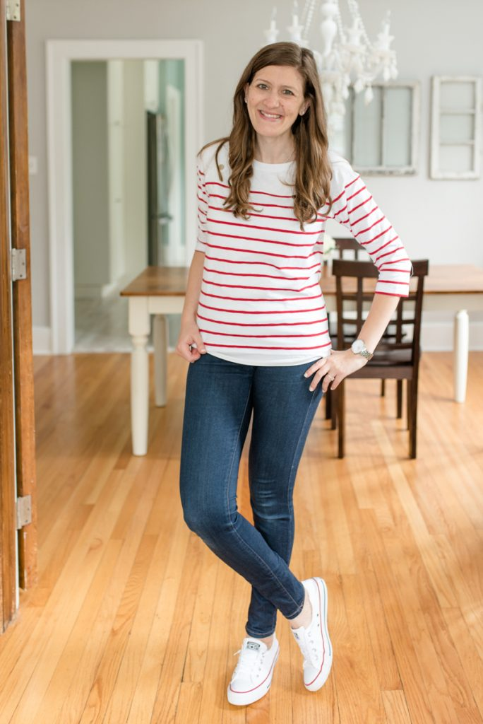 Gorgeous red and white striped sweater with button details on the shoulder   Breton Button Detail Knit Top from Market & Spruce   Stitch Fix   October Stitch Fix   Stitch Fix review   fall fashion   Crazy Together blog
