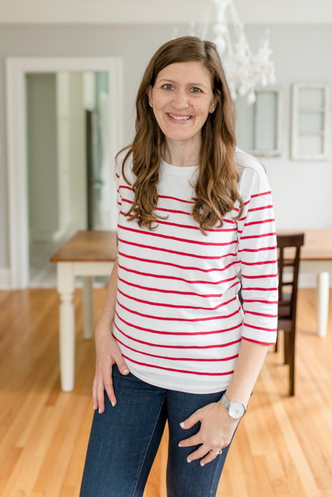 Gorgeous red and white striped sweater with button details on the shoulder | Breton Button Detail Knit Top from Market & Spruce | Stitch Fix | October Stitch Fix | Stitch Fix review | fall fashion | Crazy Together blog