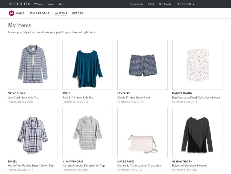 "Stitch Fix keeps getting better! Now you can see all of the items you've ever purchased through the site in your account. Just go to ""My Items"" 