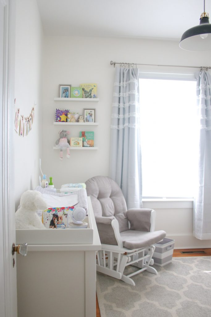 gray and white baby nursery in 1925 home renovation | gender neutral baby nursery | Crazy Together blog