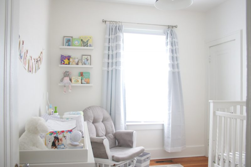 renovated baby nursery in 1925 home | this is the after, you should see what it looked like BEFORE! | gray and white baby nursery | 1920s home nursery | gender neutral baby nursery | Crazy Together blog