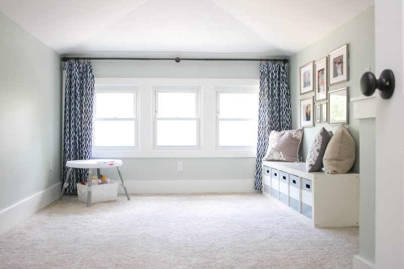 1925 craftsman bungalow before and after | check out the before and after of this cozy second floor bungalow turned living and play room | upstairs children's playroom before an after | Crazy Together blog