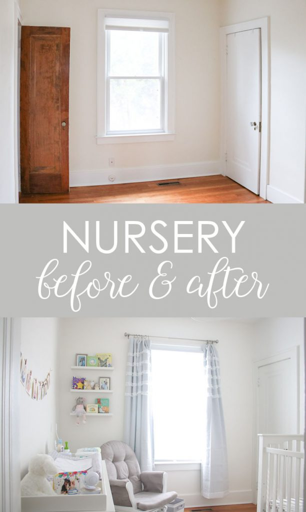 check out the before and after of this bedroom turned nursery in a 1920s era house | bedroom before and after | farmhouse bedroom | baby nursery | Crazy Together blog