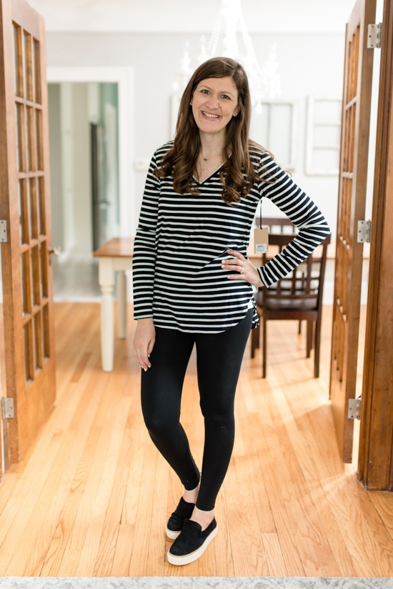 This striped v-neck tee and pair of Tom's Sunset Slip-On Sneakers came in the Best Trunk Club Shipment I've Ever Received | Fall 2018 Trunk Club review featuring casual tops and leggings | Nordstrom clothes |Trunk Club clothes | subscription box review | subscription style boxes | subscription boxes for women | fall fashion ideas | Crazy Together blog #trunkclub #stylebox #fashion #fallclothes #nordstrom