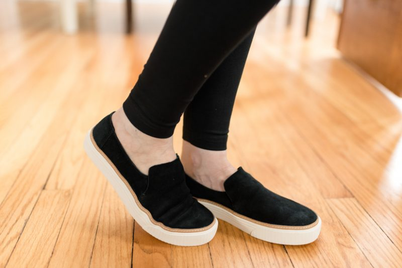 This pair of Tom's Sunset Slip-On Sneakers came in the Best Trunk Club Shipment I've Ever Received | Fall 2018 Trunk Club review featuring casual tops and leggings | Nordstrom clothes |Trunk Club clothes | subscription box review | subscription style boxes | subscription boxes for women | fall fashion ideas | Crazy Together blog #trunkclub #stylebox #fashion #fallclothes #nordstrom