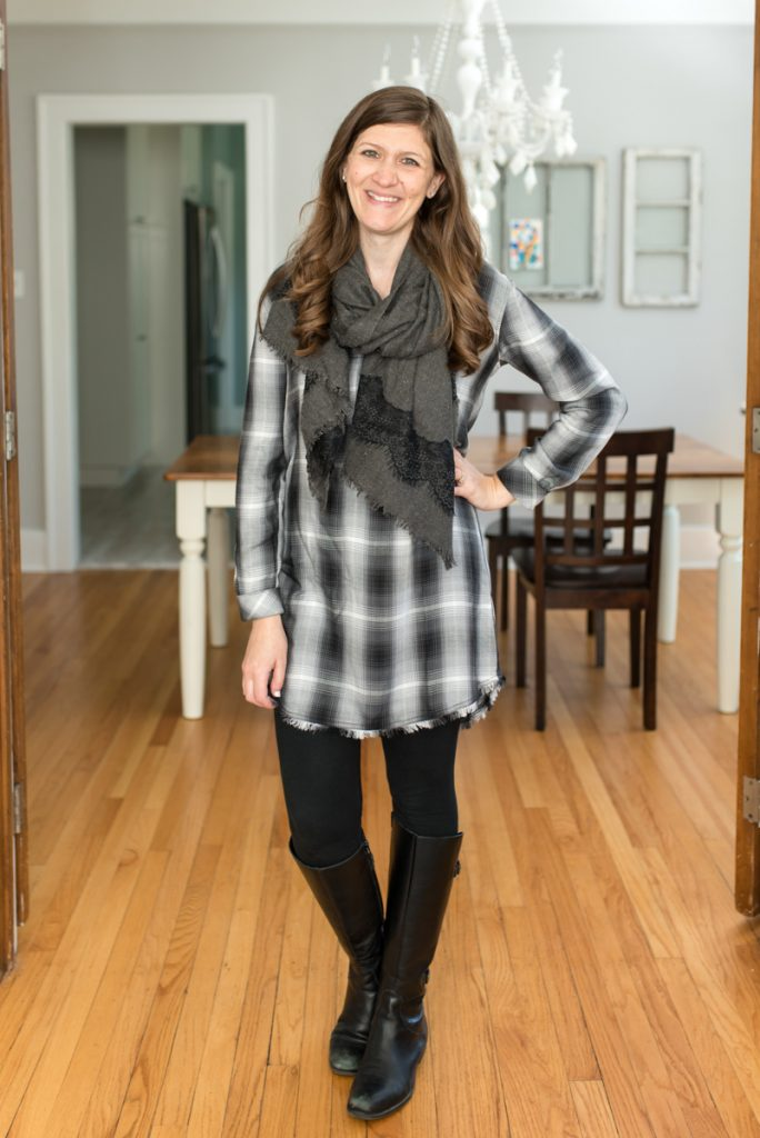 Trendsend by Evereve: personal style delivered to your door with Plaid Shirt Dress from Cloth and Stone | A comparison of Stitch Fix vs. Trendsend | clothing style services | clothing subscription boxes | personal styling | Crazy Together blog #stitchfix #trendsend #personalstylist