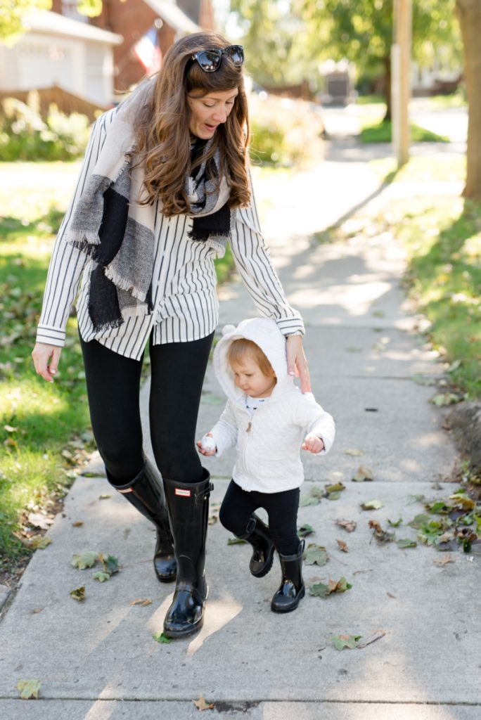 My Favorite Clothing Items for Fall and Winter | Hunter boots, Spanx leggings, black blanket scarf and a black & white stripe blouse | fall fashion | fall clothes | fashion blog | Crazy Together blog