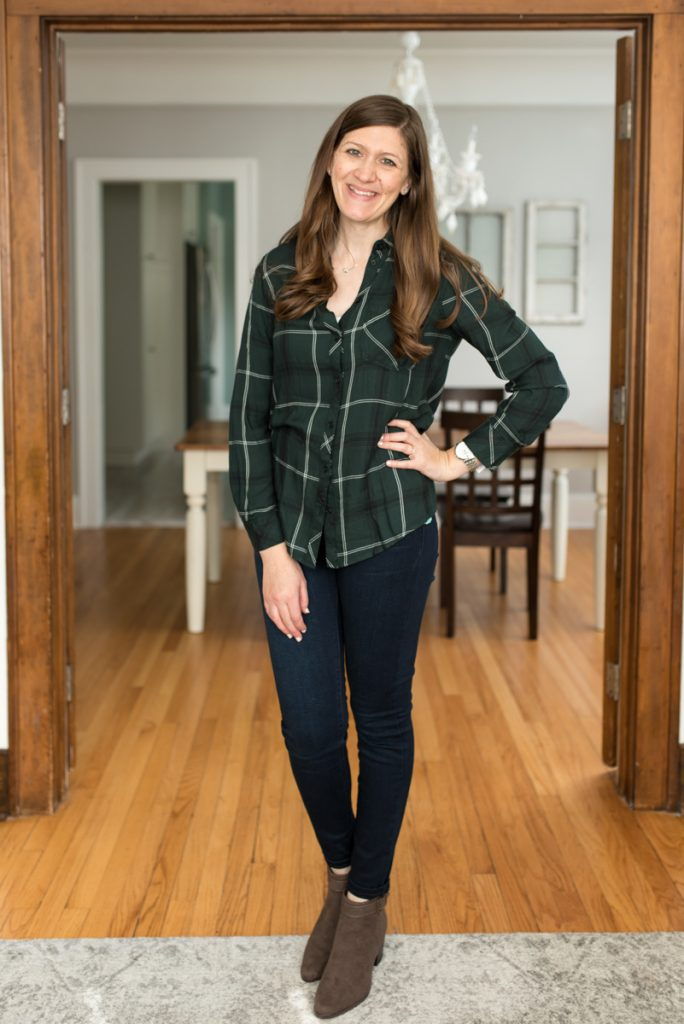 Stitch Fix delivers personal style hand-picked for you! Shown here: Hayley Button Down Top from Cosmic Blue Love ($68) | Kaylee Skinny Jean from Liverpool ($78) | Laurel Side Buckle Bootie from Market & Spruce ($75) | A comparison of Stitch Fix vs. Trendsend | clothing style services | clothing subscription boxes | personal styling | Crazy Together blog #stitchfix #trendsend #personalstylist
