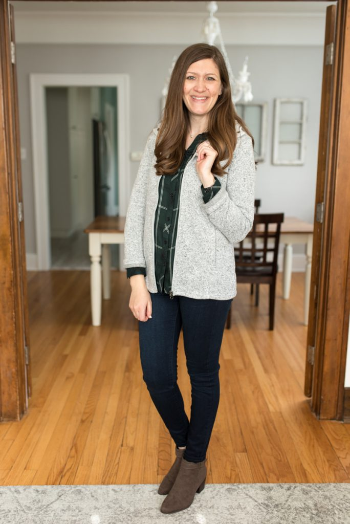 Stitch Fix delivers clothes that are hand-picked for you! Shown here: Hayley Button Down Top from Cosmic Blue Love ($68) | Kaylee Skinny Jean from Liverpool ($78) | Laurel Side Buckle Bootie from Market & Spruce ($75) | Kadenza Fleece Jacket from Market & Spruce ($78) | A comparison of Stitch Fix vs. Trendsend | clothing style services | clothing subscription boxes | personal styling | Crazy Together blog #stitchfix #trendsend #personalstylist