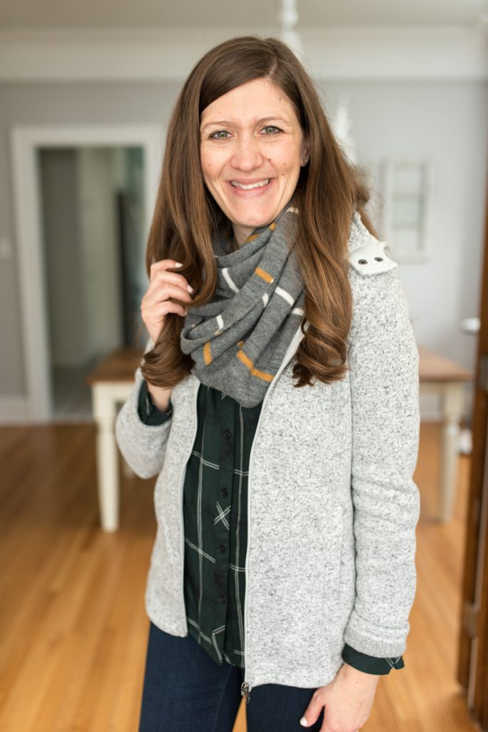 Stitch Fix delivers clothes that are hand-picked for you! Shown here: Hayley Button Down Top from Cosmic Blue Love ($68) | Kaylee Skinny Jean from Liverpool ($78) | Kanna Knit Infinity Scarf from Girly ($38) | Kadenza Fleece Jacket from Market & Spruce ($78) | A comparison of Stitch Fix vs. Trendsend | clothing style services | clothing subscription boxes | personal styling | Crazy Together blog #stitchfix #trendsend #personalstylist