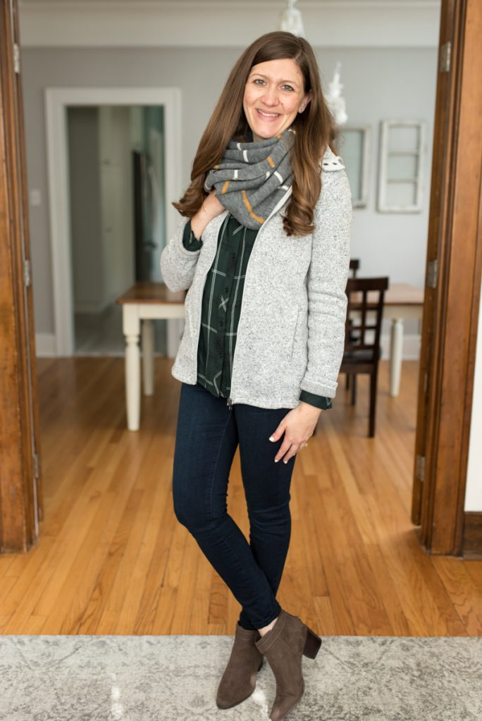 Stitch Fix delivers clothes that are hand-picked for you! Shown here: Hayley Button Down Top from Cosmic Blue Love ($68) | Kaylee Skinny Jean from Liverpool ($78) | Laurel Side Buckle Bootie from Market & Spruce ($75) | Kanna Knit Infinity Scarf from Girly ($38) | Kadenza Fleece Jacket from Market & Spruce ($78) | A comparison of Stitch Fix vs. Trendsend | clothing style services | clothing subscription boxes | personal styling | Crazy Together blog #stitchfix #trendsend #personalstylist