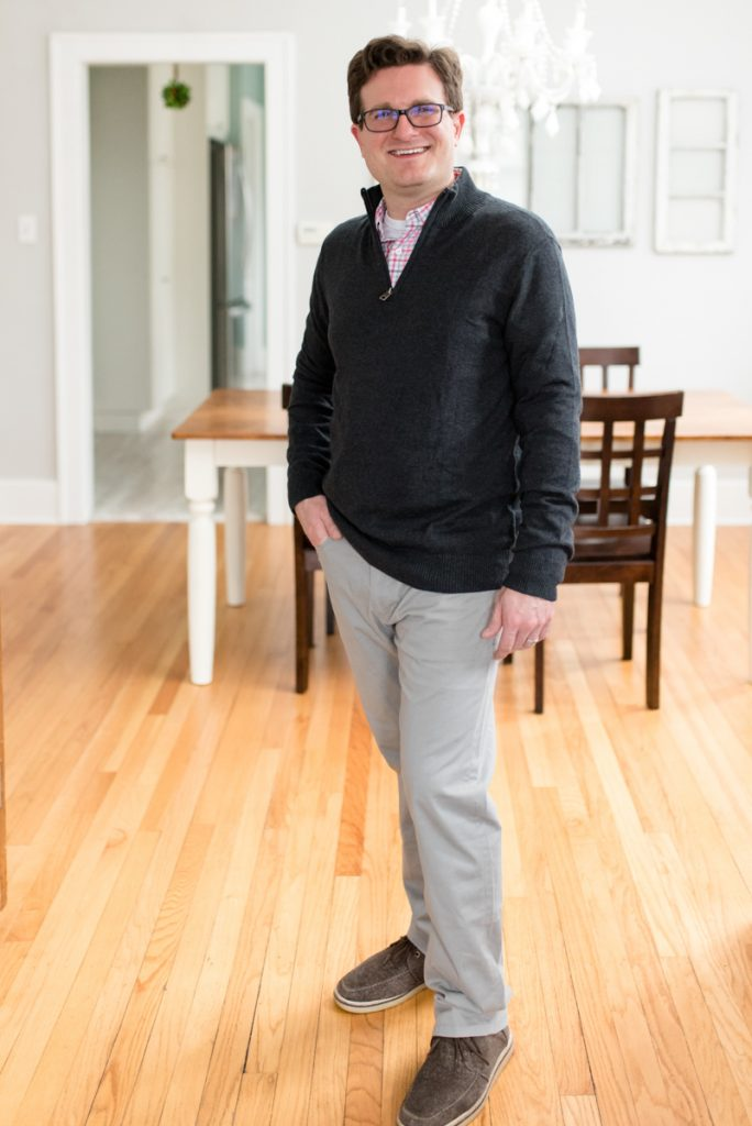 95/5 Cotton Cashmere Half-Zip Mockneck Sweater from Hawker Rye and Straight Fit 5 Pocket Pant from Bixby Nomad | His and Her Stitch Fix Review | January 2019 | Crazy Together blog | #stitchfix #stitchfixmen #fashion #fashionblog