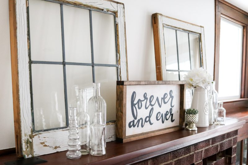 Simple, budget-friendly mantel styling with antique windows | How I styled my 1925 craftsman house living room cabinets with objects I already owned | Crazy Together blog #homedecor #decor #farmhouse #farmhousedecor