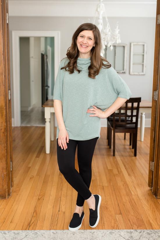 green Manuela Cowl Neck Dolman Knit Top - March Stitch Fix review
