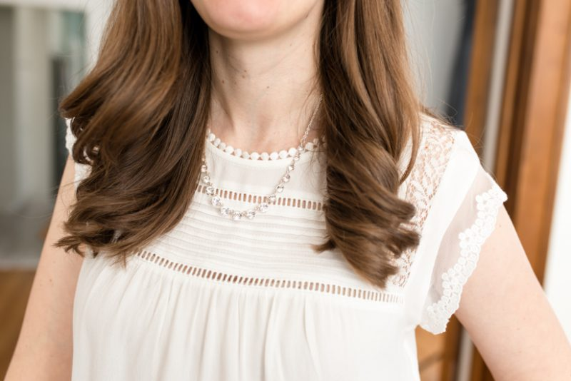 white sleeveless blouse with lace detail - March Stitch Fix review