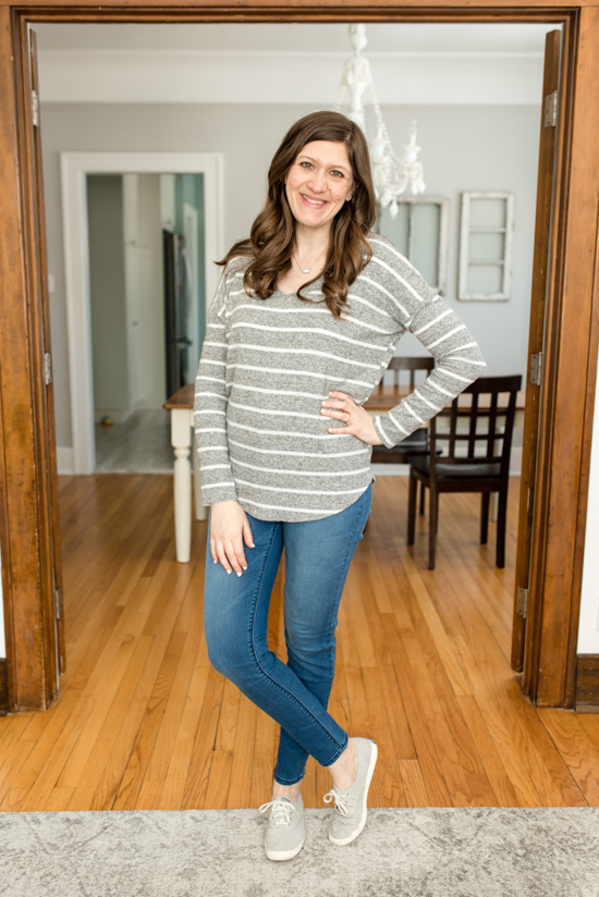 Cheaper than Stitch Fix: Fashom stying service review | Striped V-Neck Sweater from Natural Life | A comparison of Stitch Fix vs. Fashom | #stitchfix #fashion | Crazy Together blog