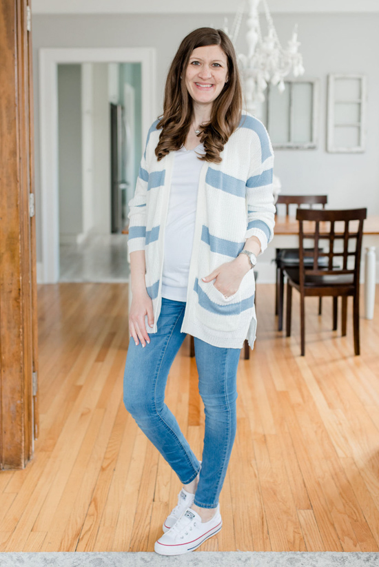Sparrow Striped Two Pocket Cardigan from Pinque | Stitch Fix maternity review | Maternity Stitch Fix| Stitch Fix clothes #stitchfix | Crazy Together blog