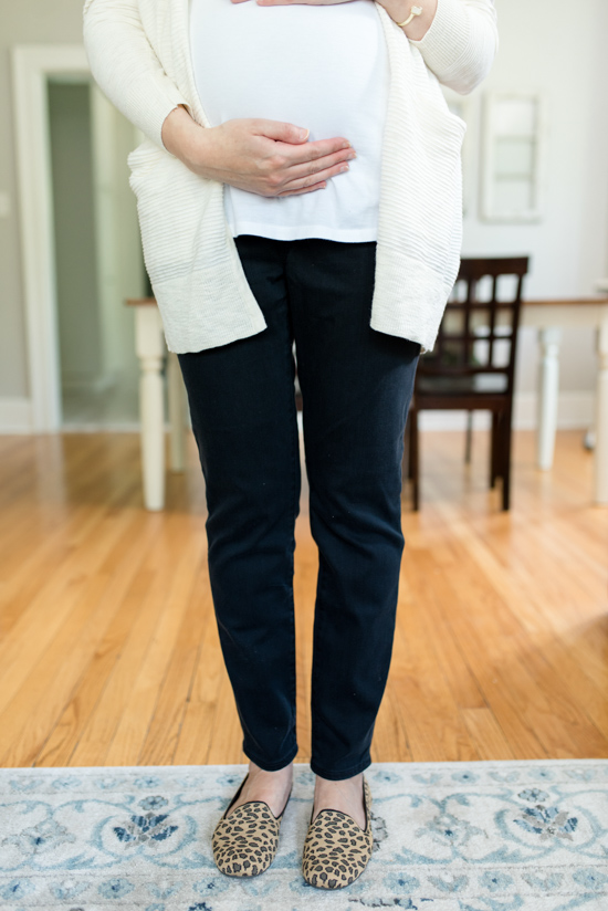 Summer 2019 Trunk Club Review featuring bump-friendly styles - Summer Ryder Stripe Cardigan from Madewell with Over the Belly Maternity Skinny Jeans from Madewell | #stitch Fix #trunkclub #fashion #maternity | Trunk Club vs. Stitch Fix Crazy Together blog