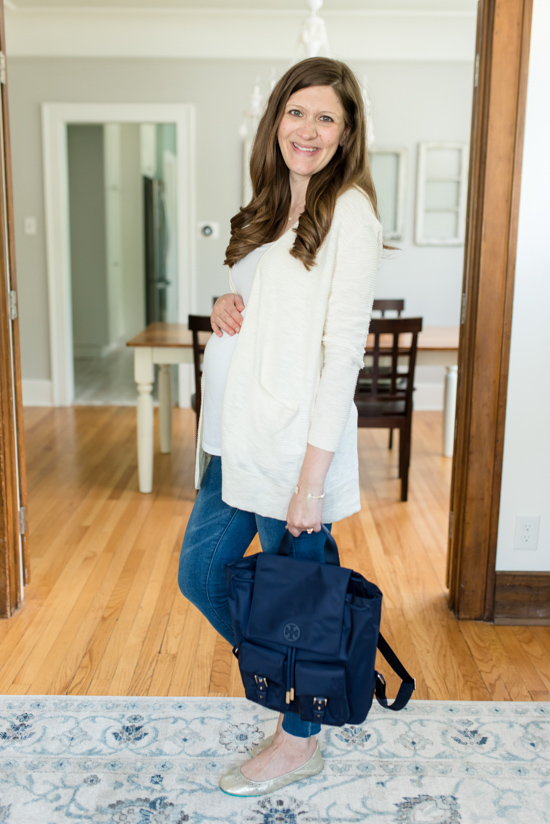 Summer 2019 Trunk Club Review featuring bump-friendly styles - Summer Ryder Stripe Cardigan from Madewell with Tilda Nylon Backpack from Tory Burch | #stitch Fix #trunkclub #fashion #maternity | Trunk Club vs. Stitch Fix Crazy Together blog