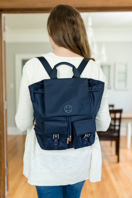 Summer 2019 Trunk Club Review featuring bump-friendly styles - Tilda Nylon Backpack from Tory Burch | #stitch Fix #trunkclub #fashion #maternity | Trunk Club vs. Stitch Fix Crazy Together blog