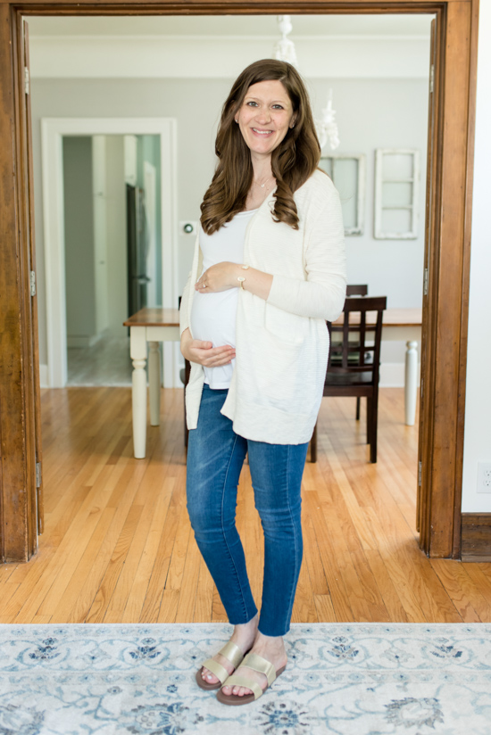 Summer 2019 Trunk Club Review featuring bump-friendly styles - Summer Ryder Stripe Cardigan from Madewell with Cushion Bounce Vista Slide Sandal from Reef | #stitch Fix #trunkclub #fashion #maternity | Trunk Club vs. Stitch Fix Crazy Together blog