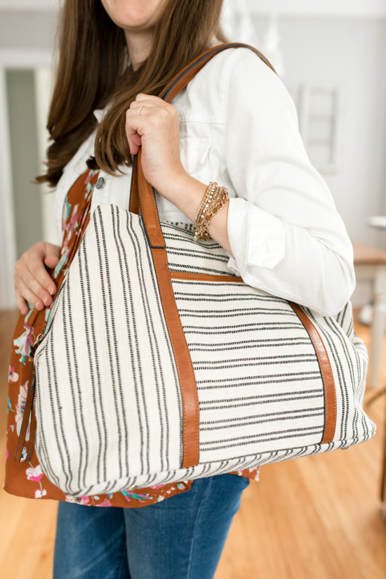 Stitch Fix Maternity Review - Anchorage Striped Canvas Tote from Street Level | Stitch Fix Clothes | Maternity Clothes | Pregnancy | Crazy Together Blog