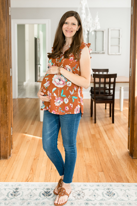 Stitch Fix Maternity Review - Liona Maternity Flutter Sleeve Detail Blouse from Daniel Rainn Maternity | Stitch Fix Clothes | Maternity Clothes | Pregnancy | Crazy Together Blog