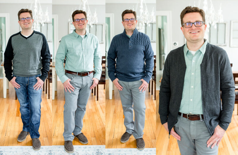 collage of clothes received in Stitch Fix Men shipment