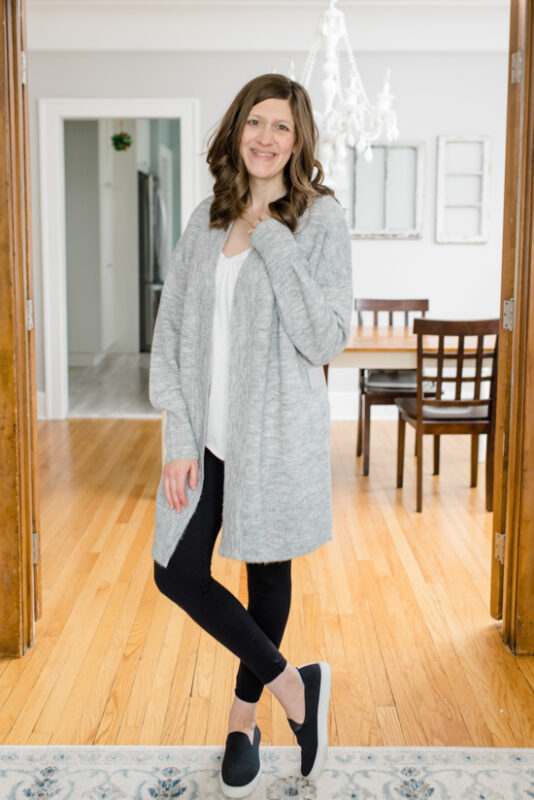 Postpartum Trunk Club Review featuring Chelsea 28 Open Front Long Cardigan | Trunk Club clothes | personal styling service | #trunkclub | #winterclothes | #postpartum | #nursing | Crazy Together blog