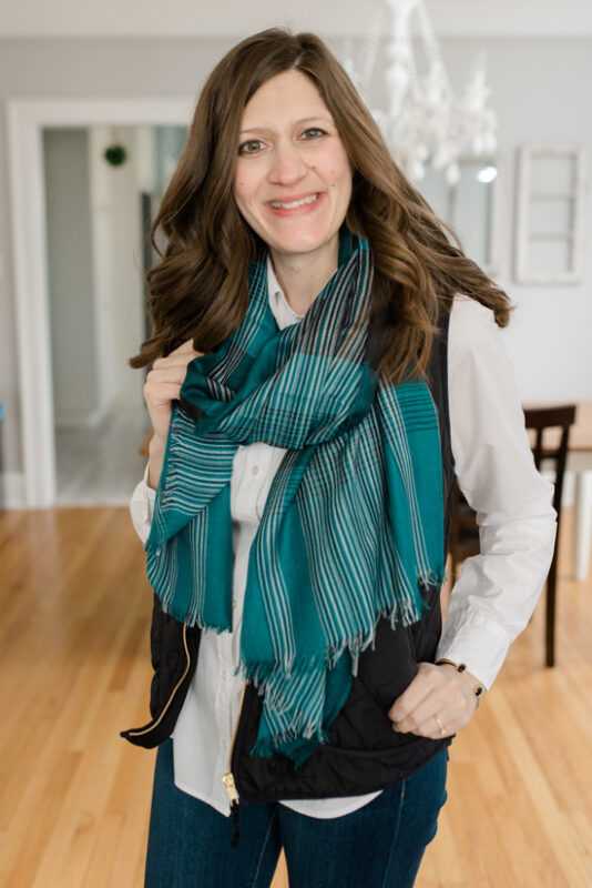February Stitch Fix review - Layla Plaid Scarf from The Accessory Collective | Crazy Together blog #stitchfix #fashion #fashionreview