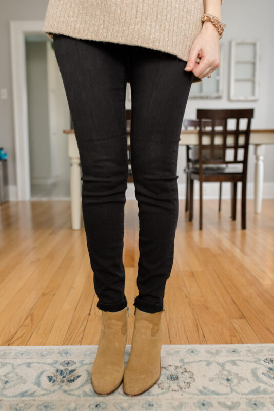Liverpool Gia Glider Pull-On Skinny Jean with brown booties - February Stitch Fix review