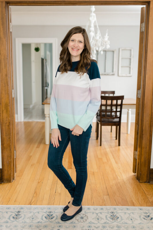 Jasper Crewneck Pullover from French Connection with skinny jeans and navy Tory Burch Flats - February Stitch Fix review