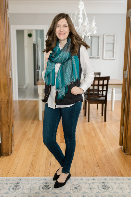Layla Plaid Scarf from The Accessory Collective  with skinny jeans and black Point Rothy's- February Stitch Fix review