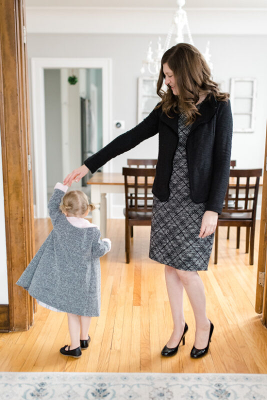 Great Stitch Fix clothes for Mom Life |  Morton Knit Dress from Hailey 23 and Becket Knit Jacket from Andrew Marc Performance | March Stitch Fix Review | Stitch Fix clothes | subscription box | style box | #stitchfix #fashionblog | Crazy Together blog