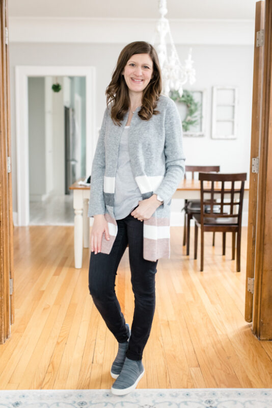 Great Stitch Fix clothes for Mom Life | Elaine Open Cardigan from Stitches&Stripes | March Stitch Fix Review | Stitch Fix clothes | subscription box | style box | #stitchfix #fashionblog | Crazy Together blog