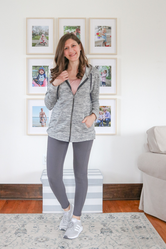 Amazon Fashion Activewear Review - Hanes French Terry Full-Zip Hoodie Sweatshirt ($14) and budget-friendly leggings ($24)
