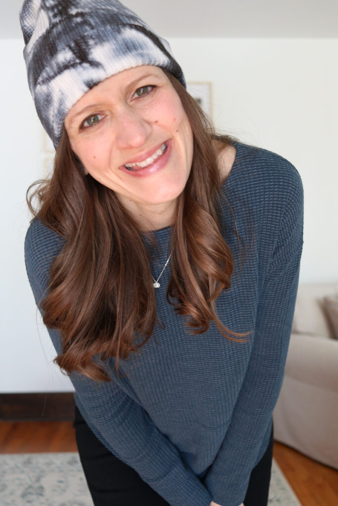Wantable Style Edit Review featuring Textured Waffle Long-Sleeved Boatneck Top and tie-dye beanie - Crazy Together blog