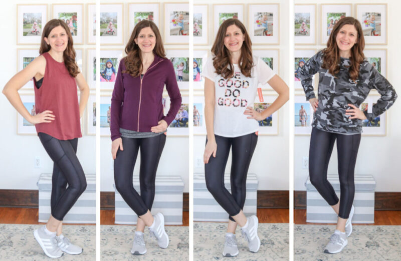 collage of woman wearing multiple outfits from a Wantable Active Edit
